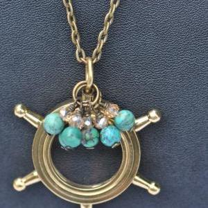Magnifying Glass Nautical Necklace-..