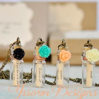 Message in a Bottle Bridesmaids Gifts -set of 4 Necklaces